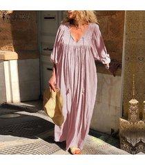 zanzea vestido largo con cuello en v de manga larga para mujer vestidos largos sueltos casuales kaftan -rosado