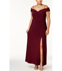 morgan & company trendy plus size off-the-shoulder gown