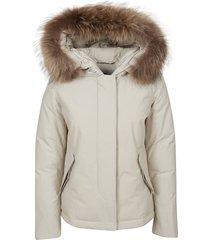 beige technical fabric padded jacket