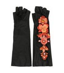 biyan par de luvas sem dedos de cetim com aplicação de flores - preto