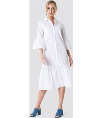 na-kd boho bell sleeve shirt dress - white