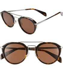 women's rag & bone 49mm round sunglasses - green/ havana