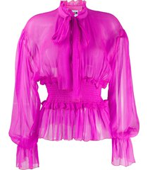 msgm tie-neck smocked chiffon blouse - pink