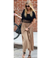 dm15 celebstyle boho colour block flutter sleeve chiffon pleated maxi long dress