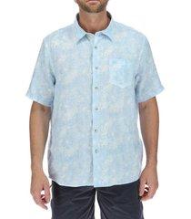 camisa lino hombre linenprint celeste rockford