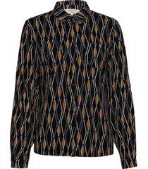 karoline ls shirt blouse lange mouwen zwart cream