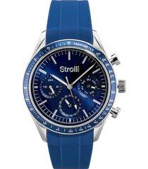 wimbledon - orologio da polso multifunzione con cassa in acciaio e cinturino blu in silicone per uomo