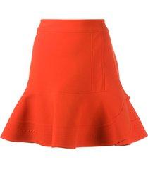 victoria victoria beckham peplum-hem skirt - red