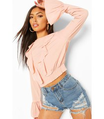 geweven crop top met franjes, rose