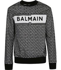 balmain logo print ribbed sweatshirt