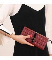 billetera mujeres- cartera de embrague de la-marrón