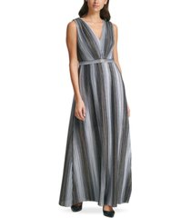 vince camuto metallic crinkle belted gown