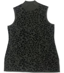 jm collection sleeveless animal-print sweater, created for macy's