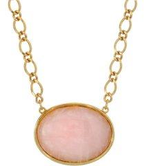 2028 gold-tone rose quartz semi precious oval stone necklace