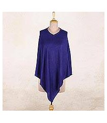 wool poncho, 'cobalt blue warmth' (india)