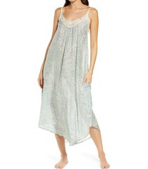 papinelle cherry blossom cotton & silk nightgown, size x-large in sage at nordstrom