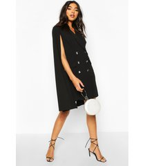 tall double breasted cape blazer dress, black