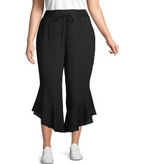plus ruffle-trimmed cropped pants