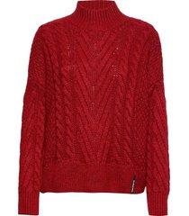 dallas chunky cable knit stickad tröja röd superdry