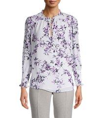 calvin klein women's smocked floral blouse - blue multi - size s