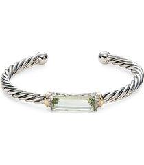 effy women's 18k two tone, green amethyst & diamond bracelet