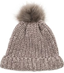 glitzhome women's chenille fold-over beanie with pom-pom