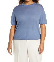 plus size women's vince easy short sleeve wool & cashmere blend sweater, size xx-large - blue