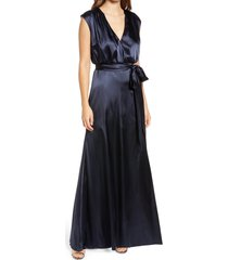 dessy collection v-neck stretch charmeuse gown, size 16 in midnight at nordstrom