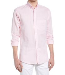 alton lane howard tailored fit cotton & linen button-down shirt, size xx-large in light pink at nordstrom