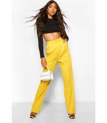 lange getailleerde geweven broek met hoge taille, goud