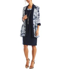 r & m richards 3-pc. petite printed jacket & necklace dress set