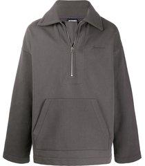 jacquemus zipped loose-fit sweatshirt - grey