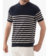 none of the above knitted breton stripe polo shirt - navy 2146