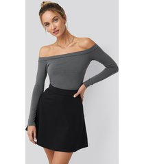 pamela x na-kd reborn high waist skater mini skirt - black