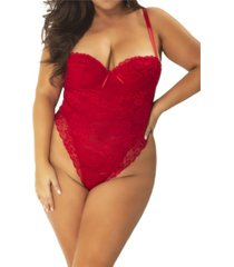 women's plus size high leg all over lace teddy