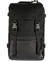 topo designs rover heritage water resistant backpack in black canvas/black leather at nordstrom