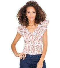 blusa ajustada triple bolero en escote terracota unipunto 32319