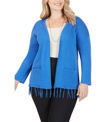 women's foxcroft flora tassel hem open cotton blend cardigan