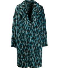 golden goose alberta leopard-print coat - blue