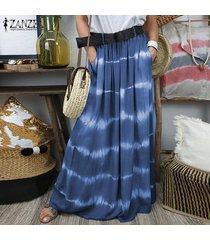falda larga estilo tie dye zanzea para mujer-azul