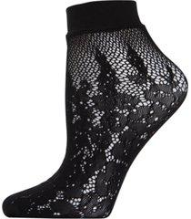natori floral burnout net shortie socks