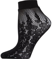 natori women's floral burnout net shortie socks
