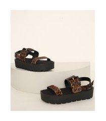 sandália de couro feminina oneself flatform animal print onça salto tratorado preta