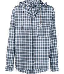 lanvin checked hybrid hoodie shirt - blue