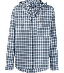 lanvin checked hybrid hoodie shirt - blue