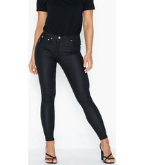 parisian coated mid rise skinny jeans byxor