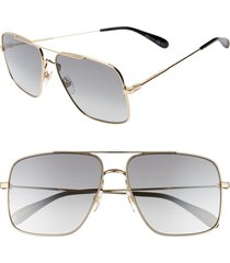 givenchy 61mm navigator sunglasses in gold/grey at nordstrom