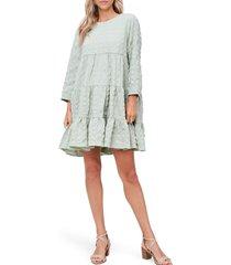 women's en saison tiered long sleeve babydoll minidress, size x-small - green