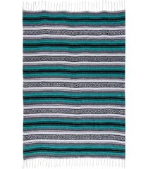 native yoga economy flaza mexican blanket teal cotton