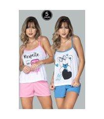 kit 5 pijamas bella fiore modas short doll estampado juliana multicolorido